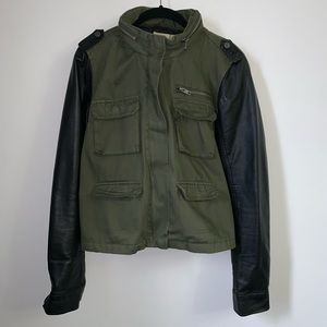 Field jacket with faux leather sleeves